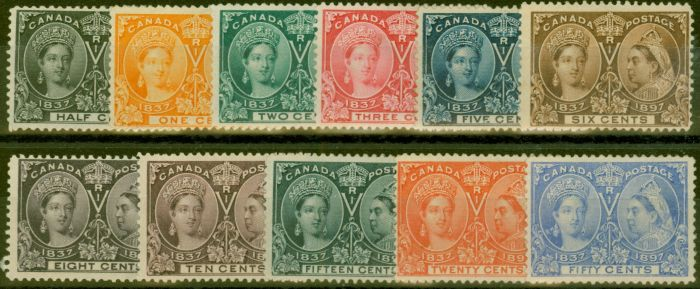 Rare Postage Stamp from Canada 1897 Set of 11 to 50c SG121-134 Fine Mtd Mint