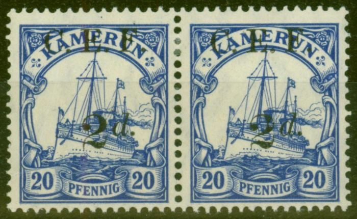 Old Postage Stamp from Cameroon 1915 2d on 20pf Ultramarine SGB4a Surch Double One Albino V.F Very Lightly Mtd Mint Pair