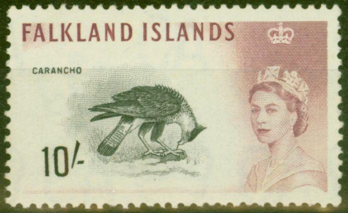 Old Postage Stamp from Falklands Islands 1960 10s Black & Purple SG206 Fine MNH
