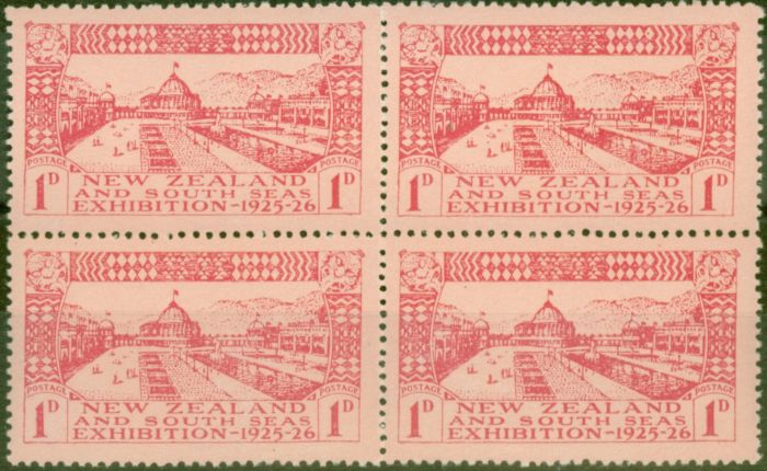 Collectible Postage Stamp from New Zealand 1925 Dunedin 1d Carmine-Rose SG464 V.F MNH Block of 4
