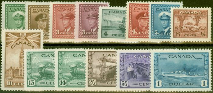 Collectible Postage Stamp from Canada 1942-48 War Effort set of 14 SG375-388 V.F Lightly Mtd Mint