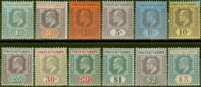Old Postage Stamp from Straits Settlements 1902-03 set of 12 SG110-121 Fine & Fresh Lightly Mtd Mint