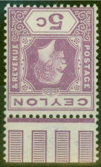 Collectible Postage Stamp from Ceylon 1912 5c Purple SG303y Wmk Inverted & Reversed V.F Very Lightly Mtd Mint