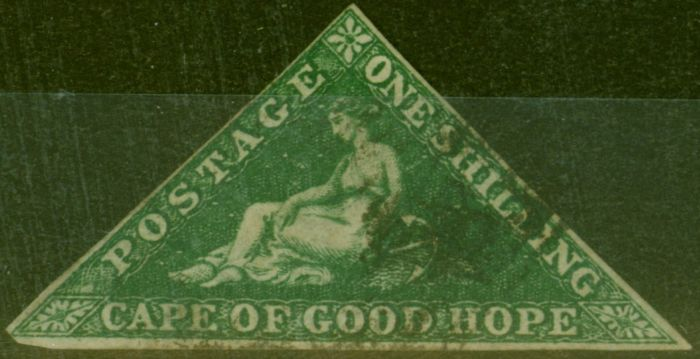 Collectible Postage Stamp from Cape of Good Hope 1859 1s Dp Dark Green SG8b Fine Used
