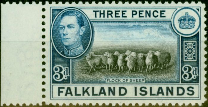 Rare Postage Stamp from Falklands Islands 1938 3d Black & Deep Blue SG153a Very Fine MNH