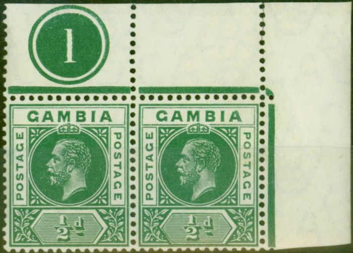 Valuable Postage Stamp from Gambia 1912 1/2d Dp Green SG86var Malformed 2nd A in Gambia in a Fine MNH Pl 1 Pair