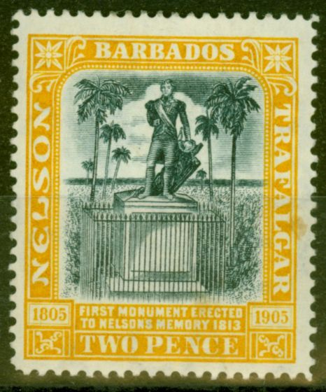 Old Postage Stamp from Barbados 1907 2d Black & Yellow SG161 Fine Mtd Mint