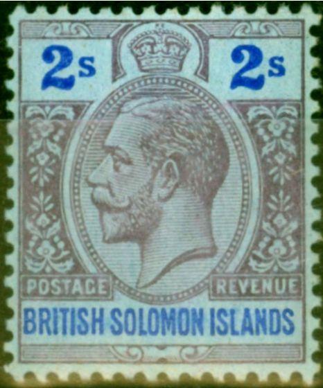 Rare Postage Stamp from British Solomon Is 1914 2s Purple & Blue-Blue SG34 Fine Lightly Mtd Mint