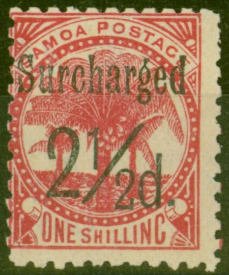 Rare Postage Stamp from Samoa 1898 2 1/2d on 1s Dull Rose-Carmine SG86 Fine Mtd Mint (11)