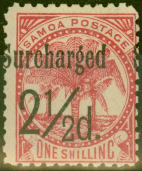 Collectible Postage Stamp from Samoa 1898 2 1/2d on 1s Dull Rose-Carmine SG86 Fine Mtd Mint (18)