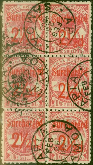 Old Postage Stamp from Samoa 1898 2 1/2d on 1s Dull Rose-Carmine SG85 Fine Used Block of 6
