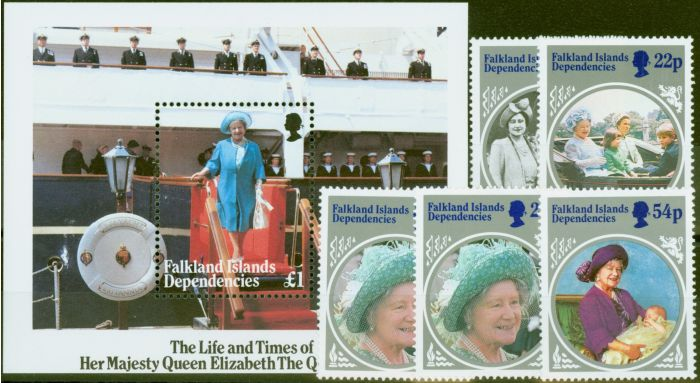 Valuable Postage Stamp from Falkland Is Dep 1985 Queen Mother set of 6 SG126-MS133 V.F MNH