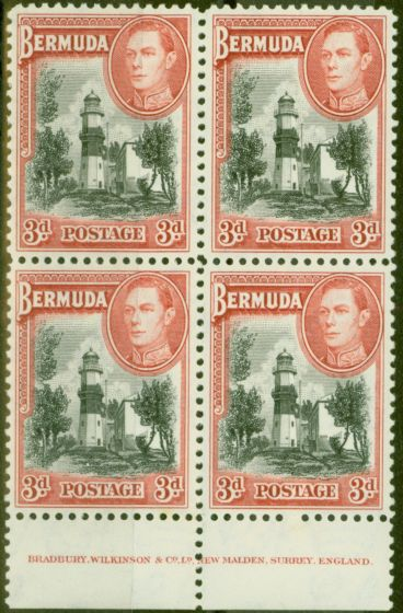 Collectible Postage Stamp from Bermuda 1938 3d Black & Rose-Red SG114 V.F MNH Imprint Block of 4