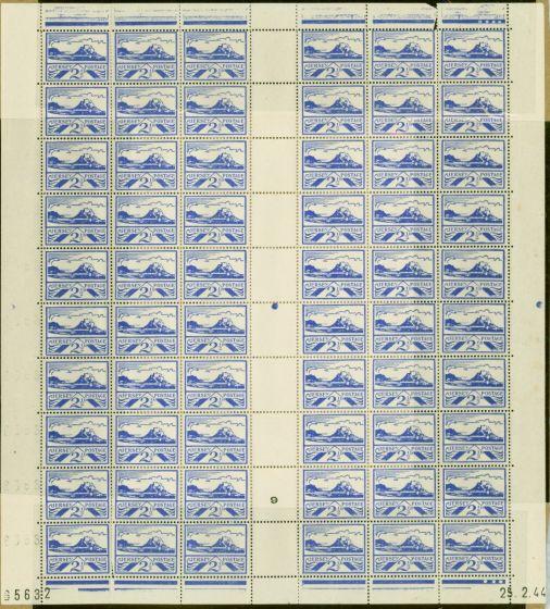Jersey 1944 2 1/2d Blue SG7a On Newsprint Plate 9 Fine MNH Complete Sheet of 60
