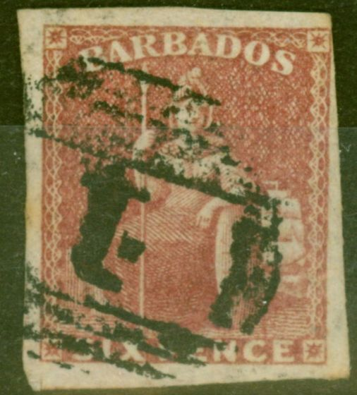 Collectible Postage Stamp from Barbados 1858 6d Dp Rose Red SG11a Fine Used 4 Clear Margins