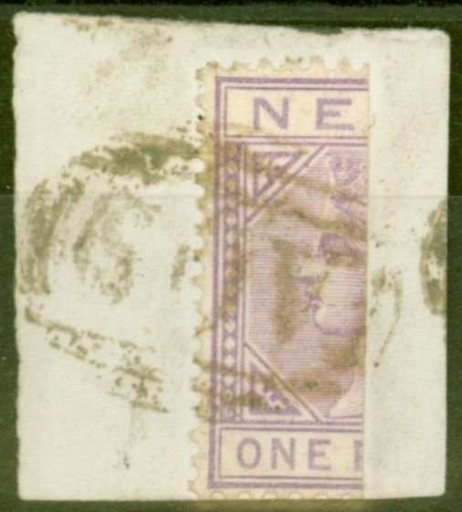 Old Postage Stamp from Nevis 1883 1d Lilac-Mauve SG26a Bisected on Piece Fine Used Scarce