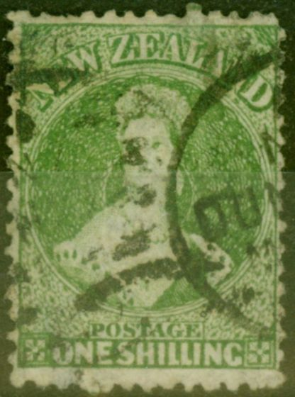 Collectible Postage Stamp from New Zealand 1864 1s Yellow Green SG125 Good Used