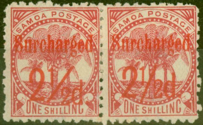 Rare Postage Stamp from Samoa 1898 2 1/2d on 1s Dull Rose-Carmine SG85 Fine Mtd Mint Pair (2)