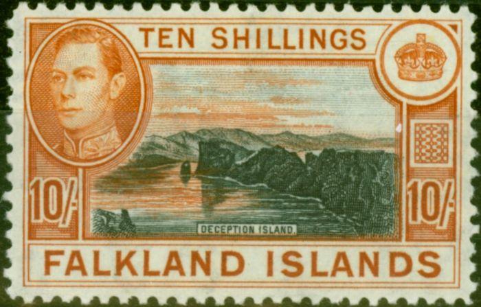 Valuable Postage Stamp from Falklands Islands 1938 10s Black & Orange-Brown SG162 Very Fine MNH