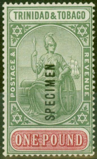 Rare Postage Stamp from Trinidad & Tobago 1921 £1 Green & Carmine Specimen SG215s Fine & Fresh VLLM