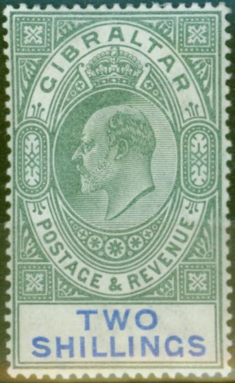 Old Postage Stamp from Gibraltar 1903 2s Green & Blue SG52 Fine & Fresh Lightly Mtd Mint (5)