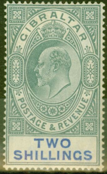Collectible Postage Stamp from Gibraltar 1903 2s Green & Blue SG52 Fine & Fresh Mtd Mint (3)
