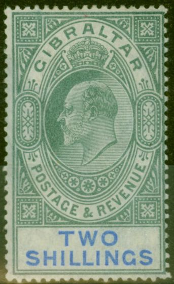 Collectible Postage Stamp from Gibraltar 1903 2s Green & Blue SG52 Fine & Fresh Mtd Mint (4)