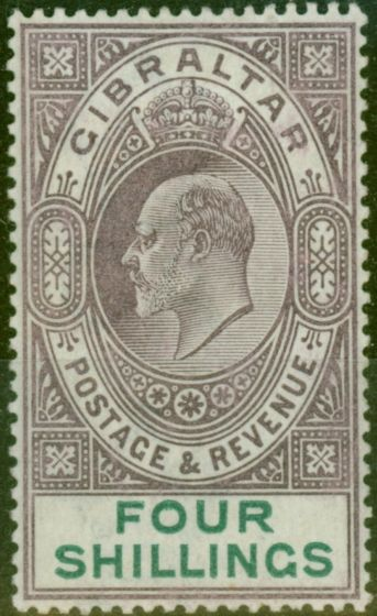 Rare Postage Stamp from Gibraltar 1903 4s Dull Purple & Green SG53 Fine Mtd Mint (6)