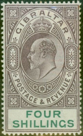 Rare Postage Stamp from Gibraltar 1903 4s Dull Purple & Green SG53 Fine Mtd Mint (7)