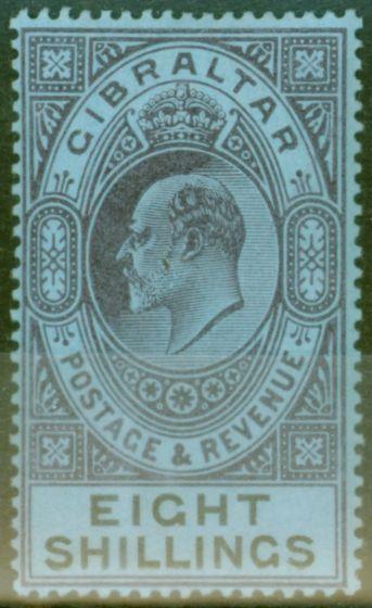 Rare Postage Stamp from Gibraltar 1903 8s Dull Purple & Black-Blue SG54 Fine Mtd Mint (3)