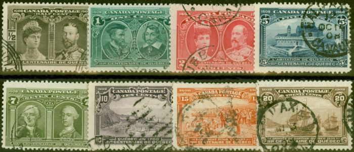 Rare Postage Stamp from Canada 1908 Quebec set of 8 SG188-195 Fine Used