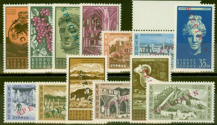 Rare Postage Stamp from Cyprus 1962 Specimen set of 13 SG211s-223s V.F MNH