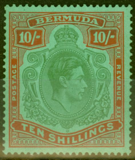 Old Postage Stamp from Bermuda 1939 10s Bluish Green & Dp Red-Green SG119a V.F MNH