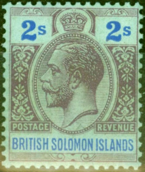 Collectible Postage Stamp from British Solomon Islands 1927 2s Purple & Blue-Blue SG49 Good Mtd Mint