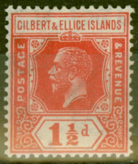 Valuable Postage Stamp from Gilbert & Ellice Is 1924 1 1/2d Scarlet SG29 V.F Very Lightly Mtd Mint