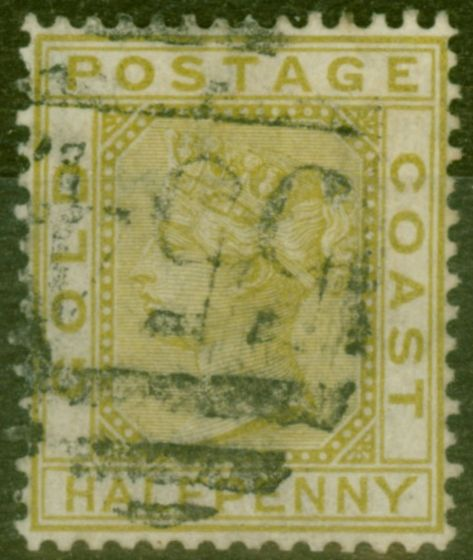 Old Postage Stamp from Gold Coast 1879 1/2d Olive-Yellow SG4 Good Used