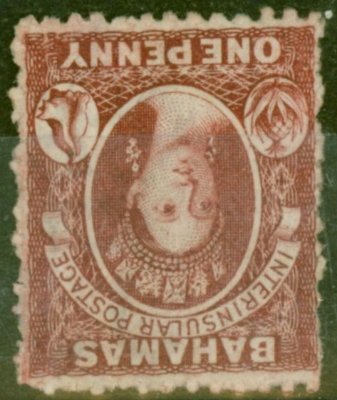 Rare Postage Stamp from Bahamas 1863 1d Carmine-Lake SG21w Wmk Inverted Fine & Fresh Mtd Mint