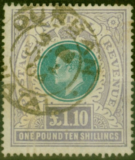 Old Postage Stamp from Natal 1902 £1.10s Green & Violet SG143 Ave Used