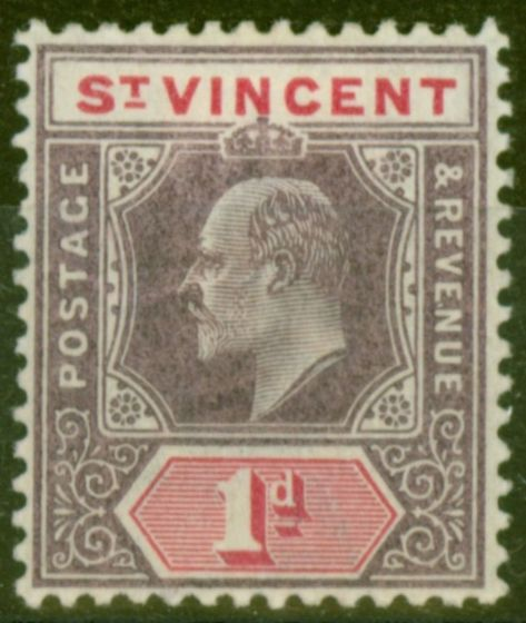 Collectible Postage Stamp from St Vincent 1904 1d Dull Purple & Carmine SG86 Ordin Paper Fine Mtd Mint.