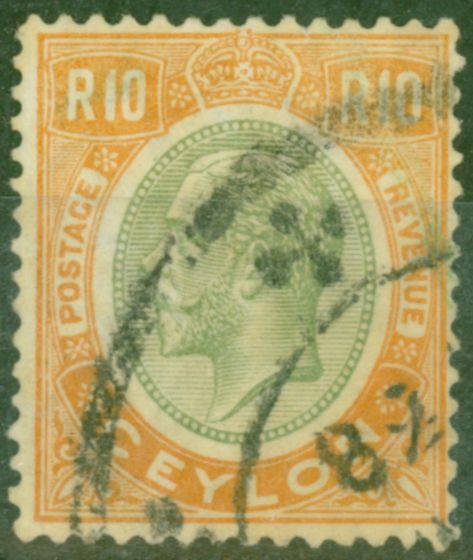Valuable Postage Stamp from Ceylon 1927 10R Green & Brown-Orange SG366 Good Used