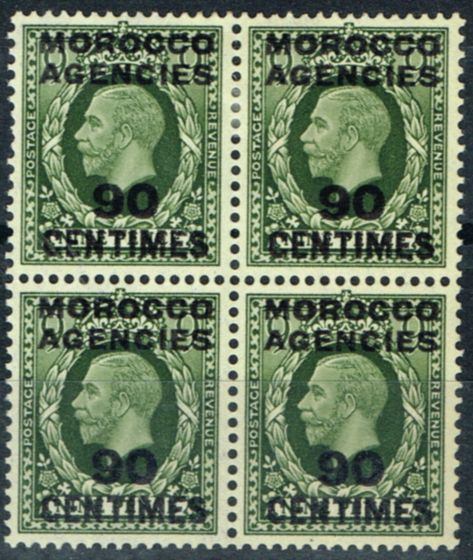 Rare Postage Stamp from Morocco Agencies 1934 90c on 9d Olive-Green SG209 Fine & Fresh MNH & LMM Block of 4