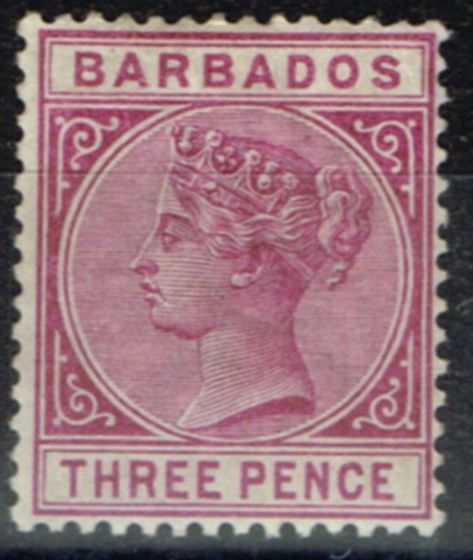Valuable Postage Stamp from Barbados 1885 3d Dp Purple SG95 Fine Lightly Mtd Mint