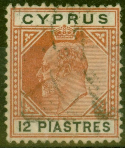 Rare Postage Stamp from Cyprus 1906 12pi Chestnut & Black SG69 Good Used