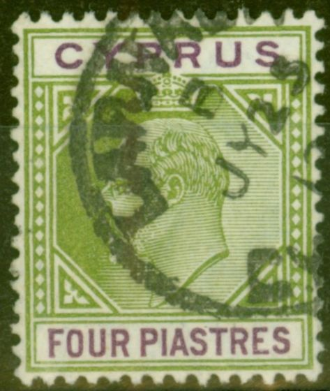 Collectible Postage Stamp from Cyprus 1905 4pi Olive-Green & Purple SG66 Fine Used