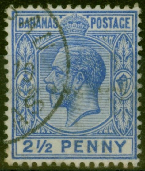 Collectible Postage Stamp from Bahamas 1912 2 1/2d Dp Dull Blue SG84a V.F.U