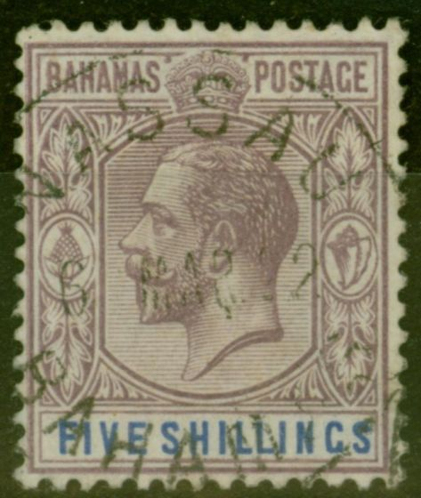 Collectible Postage Stamp from Bahamas 1912 5s Pale Dull Purple & Dp Blue SG88a V.F.U