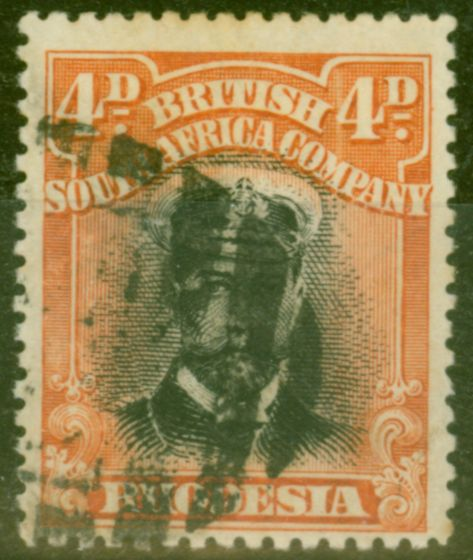 Old Postage Stamp from Rhodesia 1913 4d Black & Orange-Red SG214 Die I P.15 Fine Used