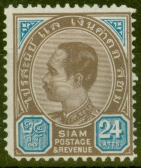Rare Postage Stamp from Siam 1899 24a Brown-Purple & Blue SG79 Fine Lightly Mtd Mint Scarce