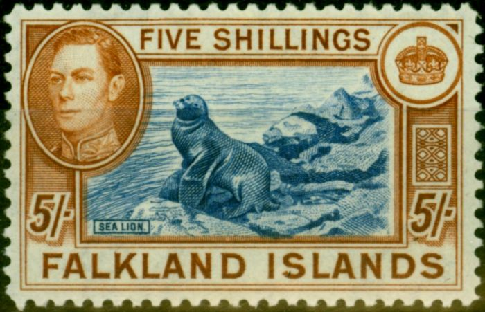 Old Postage Stamp from Falklands Islands 1950 5s Steel Blue & Buff-Brown SG161d Very Fine MNH