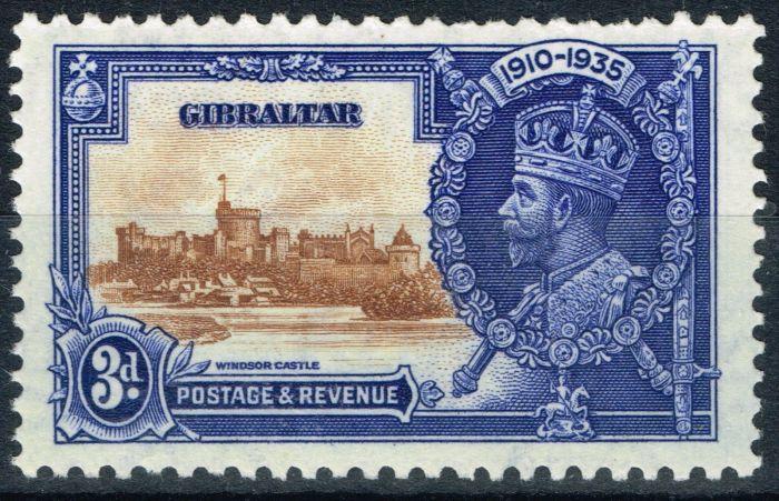 Rare Postage Stamp from Gibraltar 1935 3d Brown & Dp Blue SG115b Short Extra Flagstaff Fine MNH